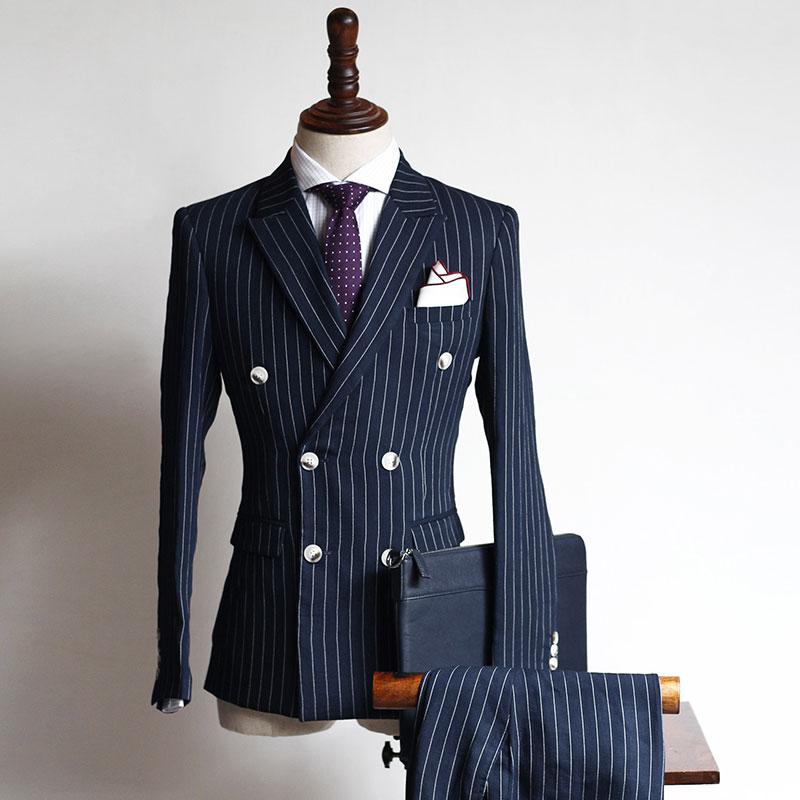 2 Stuks Hot Selling Double Breasted Custom Pakken Mannen Pakken Bruidegom Tuxedos Bruidsjonkers Wedding Suits (jas + Broek) Handig Om Te Koken