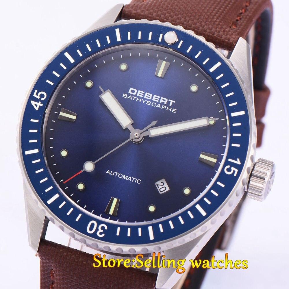 43mm Debert blue dial ceramic bezel Sapphire Glass miyota Automatic mens Watch debert 41mm blue dial ceramic bezel leather strap miyota automatic mens watch