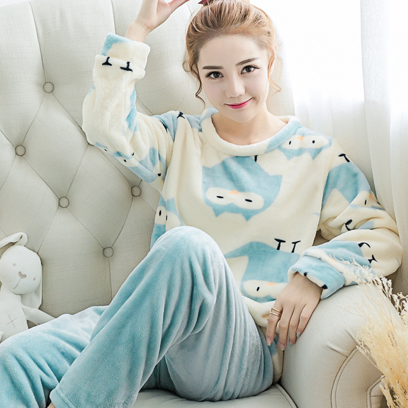 15b49beb1c Autumn and winter winter Coral Fleece Pajamas female thickened long sleeve  flannel suit Home Furnishing cute cartoon lark