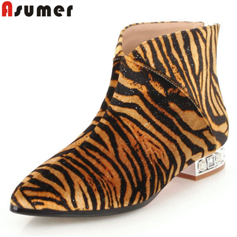 ASUMER 2020 fashion ankle boots for women pointed toe zip ladies autumn winter boots low heels casual prom boots big size 34 43