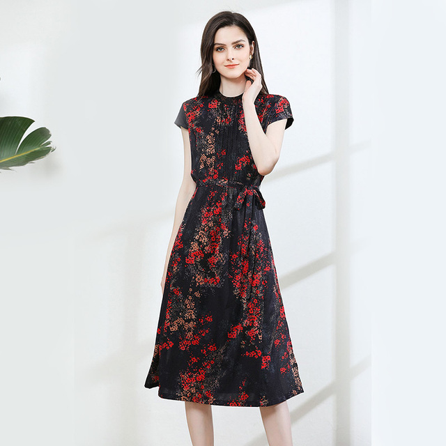 100% Silk Dress Women Vintage Printed O Neck Short Sleeves A-line Dress Grade Fabric Casual Style Summer New Fashion  2019