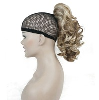 Strong Beauty 21 Color Synthetic Medium Curly Ponytail Hairpiece Extension EXTRa Layered Claw CLip In On