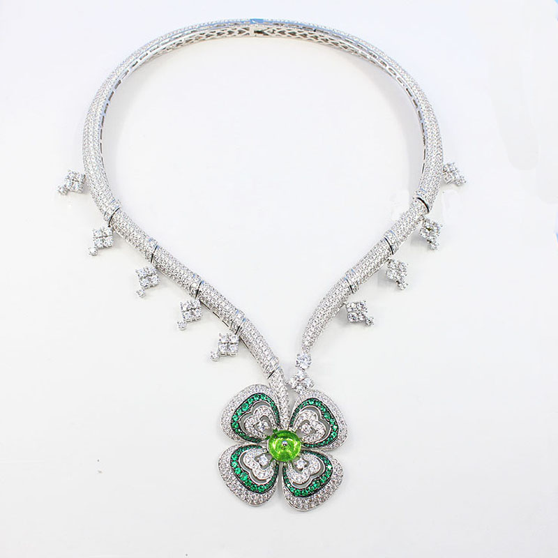 SLJELY Gorgeous Green Flower Statement Necklace Full Cubic Zirconia Floral Collar Choker Women Dinner Jewelry Dress