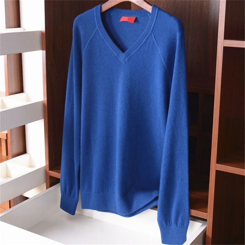 100%cashmere Vneck Knit Men Casual Loose Pullover Sweater S-XL Solid Color Retail Wholesale