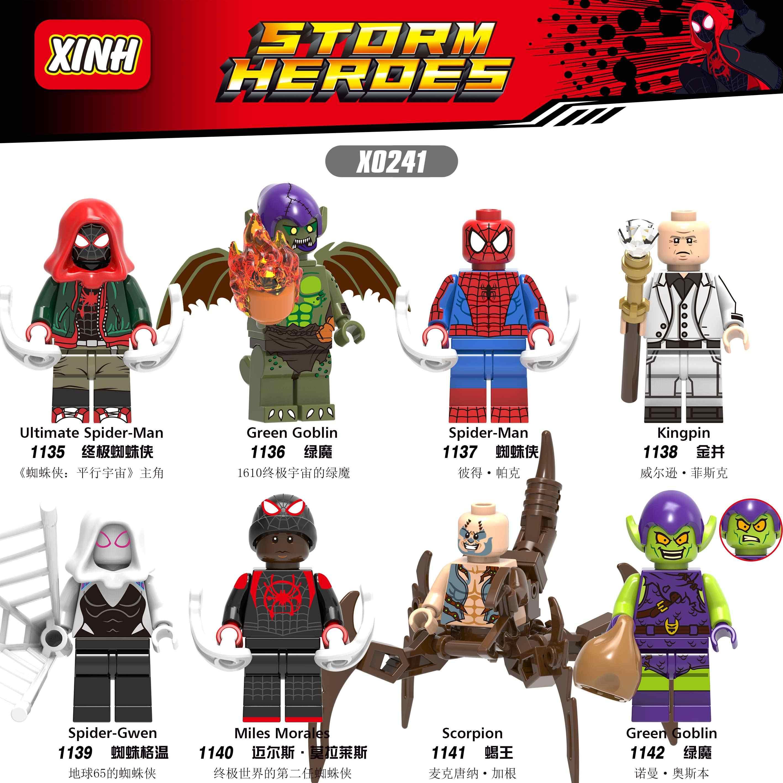 Legoings Única Venda Marvel Avengers Spiderman Miles Green Goblin Chefão Final Noir Gwenom Building Blocks Brinquedos para Crianças