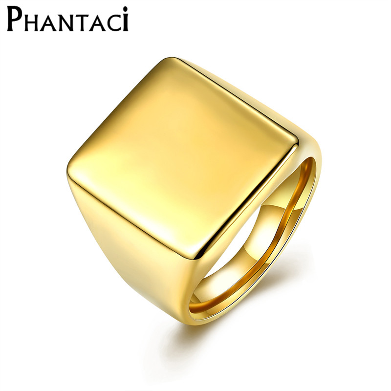 Never Fade Mens High Polished Signet Solid Stainless Steel Puck Ring 316L Stainless Steel Biker Cool Men Boy Ring Jewelry