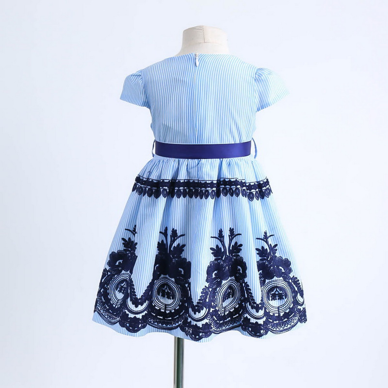 2019 Summer Blue Stripe Embroidery Dress For Baby Girls Children Cotton Causal Dress Kids Clothes 2-6Y LT011 4
