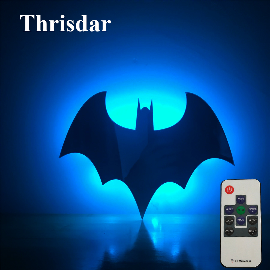 Thrisdar 7 Color Mirror Batman LED Night Light With Remote 3D Batman Shadow Projection Wall Lamps Baby Children Kids Toy's Gift 2018 hero batman bat wall night light lampara shadow projection lamp child kids toy gifts warm light sensor contrller multicolor