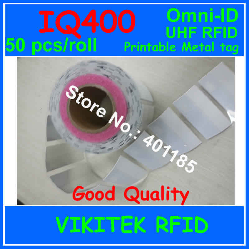Omni ID IQ 400 UHF RFID adhesive Ultrathin labels metal tag 50 pcs per roll 915M EPC C1G2 ISO18000 6C IQ400 IT asset tracking