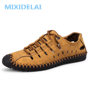 MIXIDELAI New Summer Comfortable Casual Shoes Loafers Men Shoes Quality Split Leather Shoes Men Flats Hot Sale Moccasins Shoes