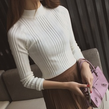 an half turtleneck short sweater female sleeve head slim shirt new winter sweater thickening female students