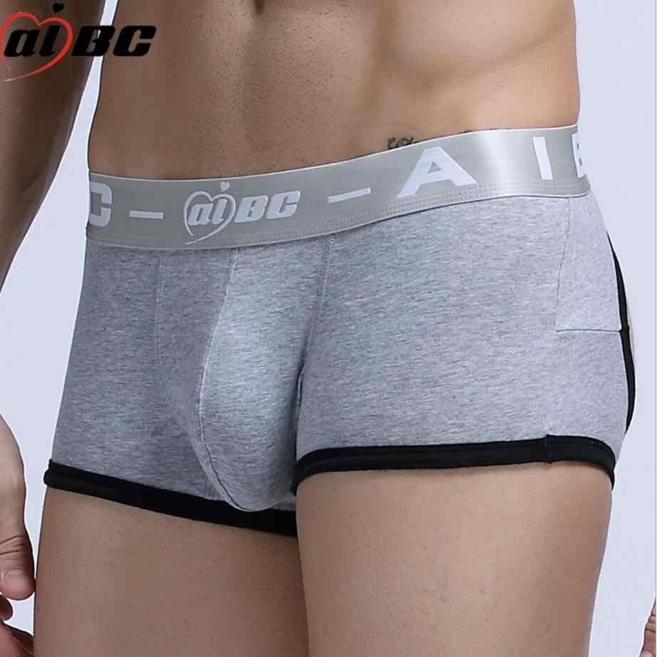 5e9ac48fd0c1 ... Brand Sexy Open Buttock Men's Boxer Short Ice Silk Soft Men's Boxer  Short Men's U Convex ...