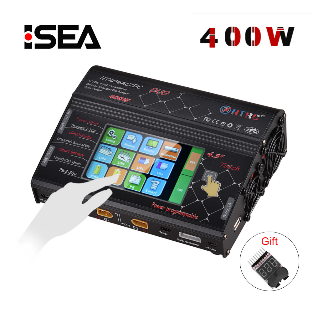 HTRC HT206 AC/DC DUO 400W 40A Dual Port RC Charger Balance Lipo Charger LCD Touch Screen Lilon/LiPo/LiFe/LiHV Battery DischargerHTRC HT206 AC/DC DUO 400W 40A Dual Port RC Charger Balance Lipo Charger LCD Touch Screen Lilon/LiPo/LiFe/LiHV Battery Discharger
