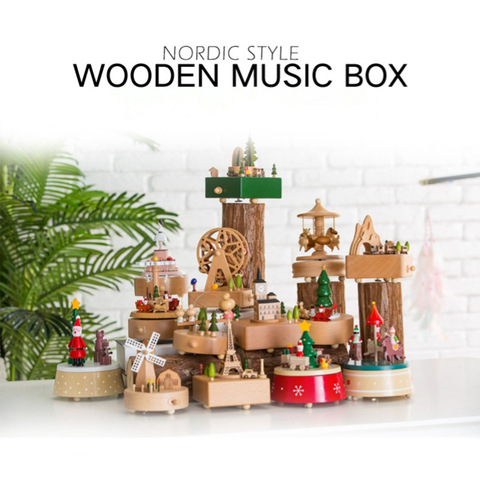 14 Type Wooden Music Box Creative Gift Gifts For Kids Musical Carousel Ferris Wheel Boxes Boxs Navidad Decorations For Home Lahore