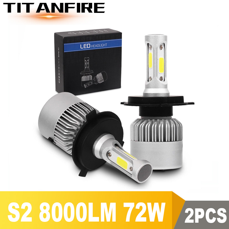 TF30 2X S2 LED Headlights Bulbs Conversion Kit Lights H1 H3 H4 H7 H8 H11 HB3 HB4 Auto COB Car Headlight 72W 8000LM  6500K