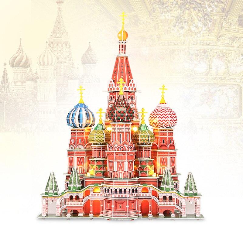 Jouets éducatifs de construction 3D modèle de cathédrale de Saint basilic pour les filles de garçon bricolage jouets de Puzzle de papier créatif avec la conception d'éclairage de LED