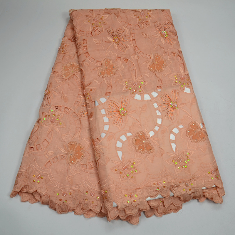 White African Lace Fabric 2018 High Quality Organza Lace Fabric Latest peach Nigerian Laces with stones