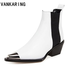 VANKARING new women boots winter shoes heels ankle boots motorcyle punk shoes woman platform black metal pointed toe short boots original intention new gorgeous women mid calf boots pointed toe metal thin heels boots black red shoes woman us size 4 10 5