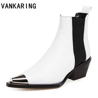 VANKARING new women boots winter shoes heels ankle boots motorcyle punk shoes woman platform black metal pointed toe short boots