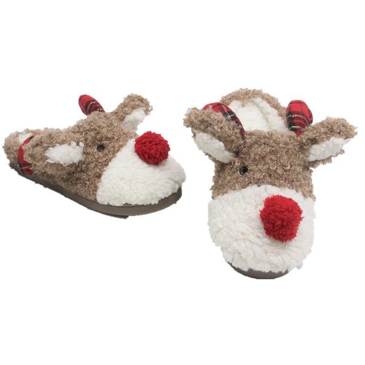 Autumn Winter Home Cartoon Animal Christmas Elk Deer Plush Slippers Women Indoor\ Floor Warm Slippers Shoes Girls Snowflake Deer plus size christmas snowflake elk print hoodie