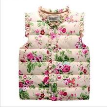 girls clothes Autumn Spring cotton Girls Vest Sweet Floral Down Cotton Warm Waistcoat Children Clothing kids