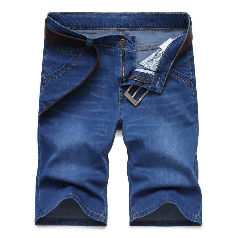 New Men`s Stretch Capris Business Denim shorts High Waist Cropped Short Jeans
