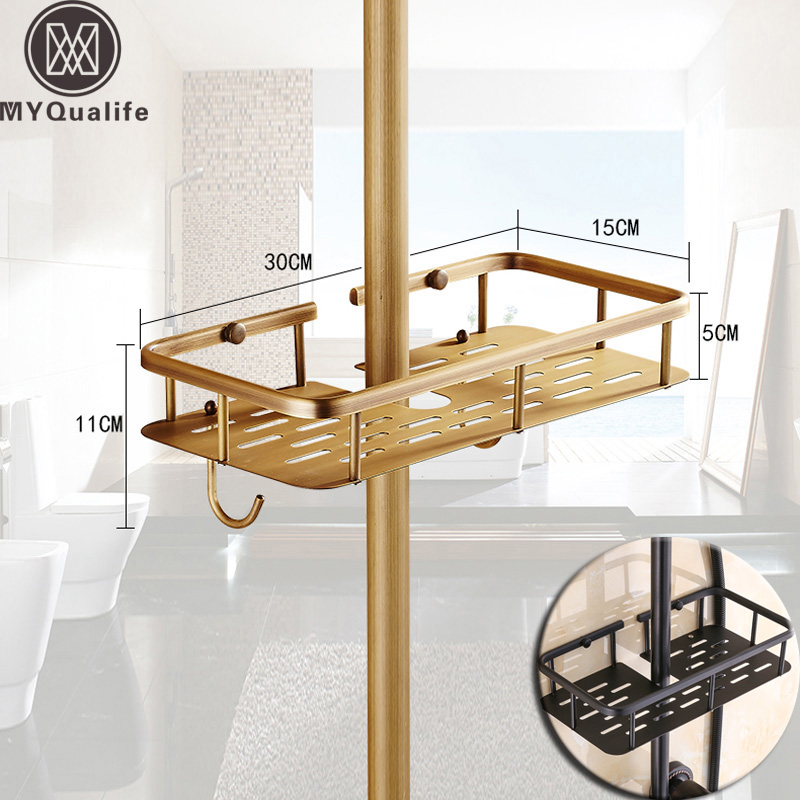 Brass Antique Bathroom Shower Faucet Shelves with Hooks Bathroom Commodity Basket Dedicated for Shower Pole
