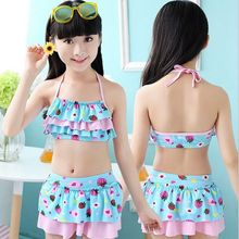 2016 New Children clothing Swimwear Baby Girls Kids cute Bikini girls split Two Pieces swimsuit Bathing suit Beachwear 12 color
