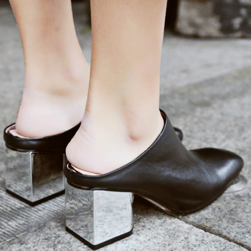 3b16ea6f9d brands 2017 fashion women real cow soft genuine leather pumps black gray  slingbacks med square heels woman spring summer shoes-in Women's Pumps from  Shoes ...
