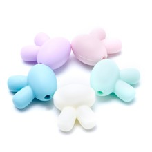 5x Rabbit Silicone Beads Baby Teething Teether BPA Free Necklace Making Chew Toy(China)