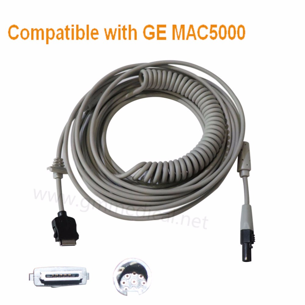 Ile uyumlu GE MAC5000 KAM 14 Coiled Hasta Kablosu, Uzunluk = 6 m, OEM P/N 2016560-001.Ile uyumlu GE MAC5000 KAM 14 Coiled Hasta Kablosu, Uzunluk = 6 m, OEM P/N 2016560-001.