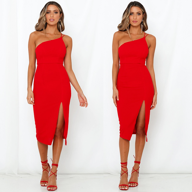 HTB1zKkpe.CF3KVjSZJnq6znHFXaG Evening Party  Dress vestidos Women Backless One Shoulder Split Bodycon  Strap Christmas Red  Dresses 2019 New Arrivarls