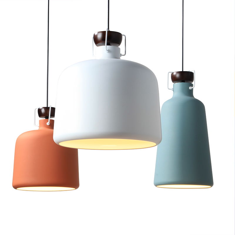 Nordic style modern minimalist creative work office dining room iron fashion single head bar pot cover small pendant lamp lo8810 single head small bar of korean modern minimalist iron pendant lamps dining room pendant light the living room kitchen