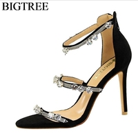 Luxury Brand Crystal Gladiator Sandals High Heeled Party Shoes Elegant Ankle Strap Open Toe Stilettos Thin