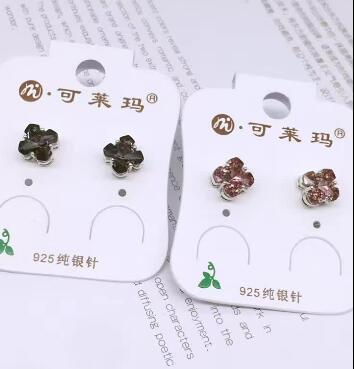 Bijoux de mariée livraison gratuite vente chaude 925 belle noir et violet trèfle cristal boucles d'oreilles bijoux
