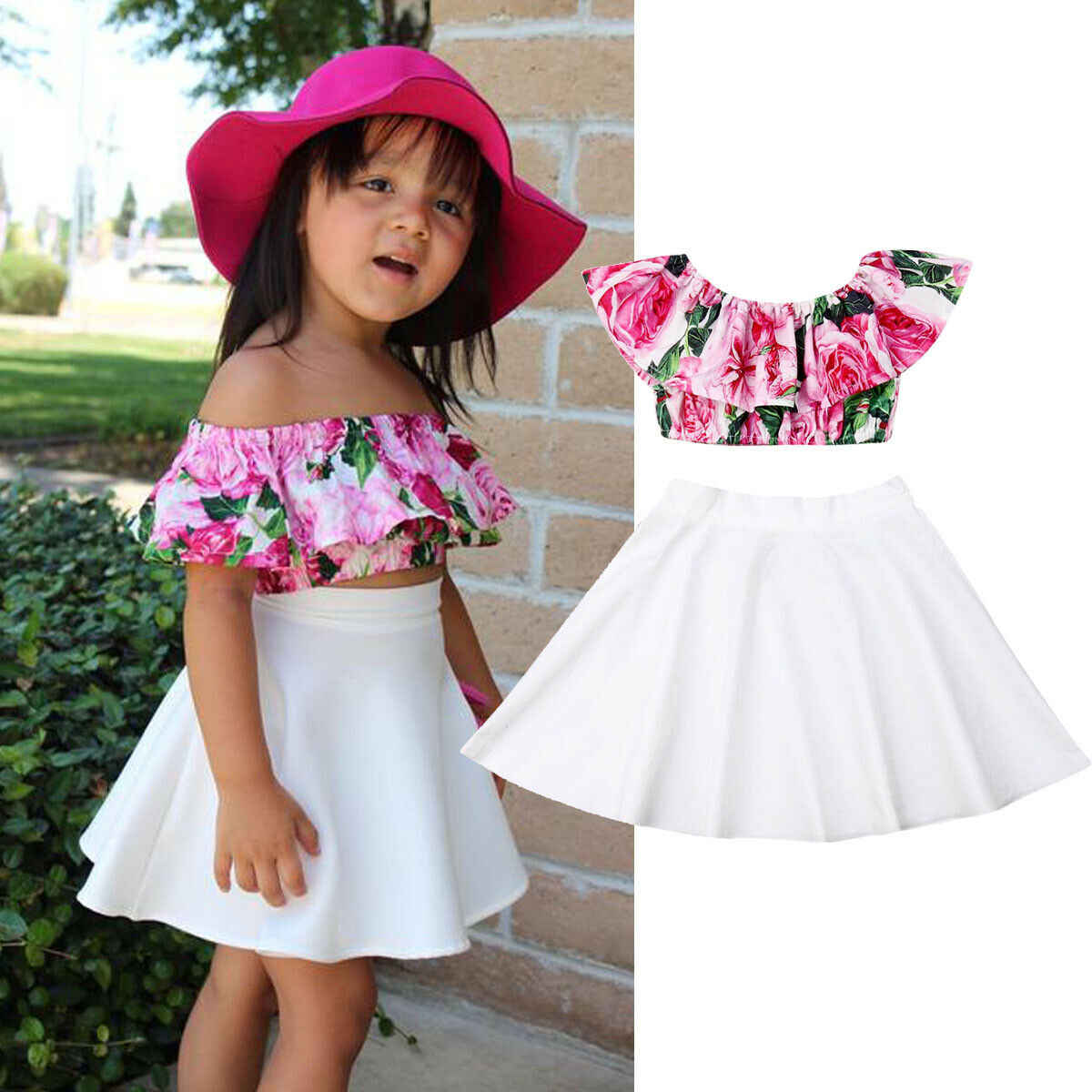 Newborn Baby Girl Off Shoulder Ruffles Sleeve Strip Tops+Tutu Floral Strap Shorts Outfit Clothes Set