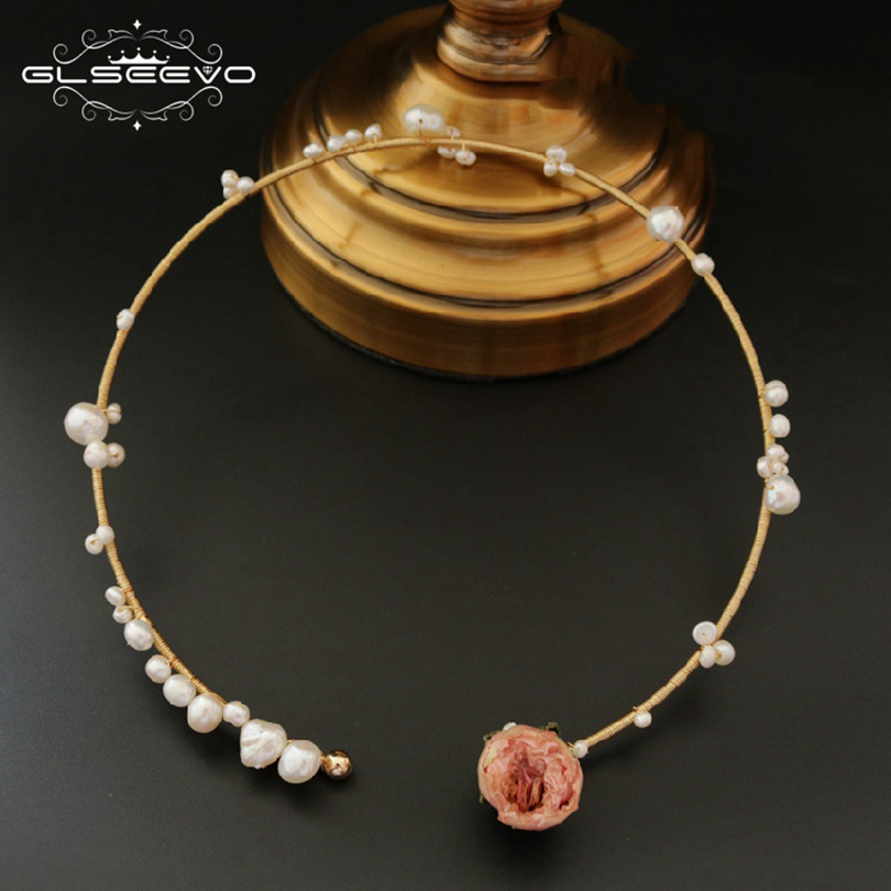 GLSEEVO Natural Fresh Water Pearl Rose Flower Choker Necklace For Women Gifts Statement Necklaces Jewelry Collier Female GN0040 glseevo natural fresh water pearl chokers necklace for women handmade necklaces luxury fine jewelry gargantilha kolye gn0047