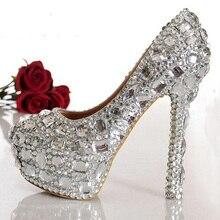 Мода Женщина Горячий Продавать Кристалл Алмаза Свадебные Туфли на высоком каблуке Серебряные Свадебная Обувь Сексуальные Закрытые Toe Ночной Клуб Обувь