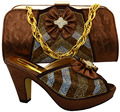 African Shoes With Matching Bags Rhinestones brown,High Quality Italian Shoes And Bags Set for Fashion Party MFC1-20