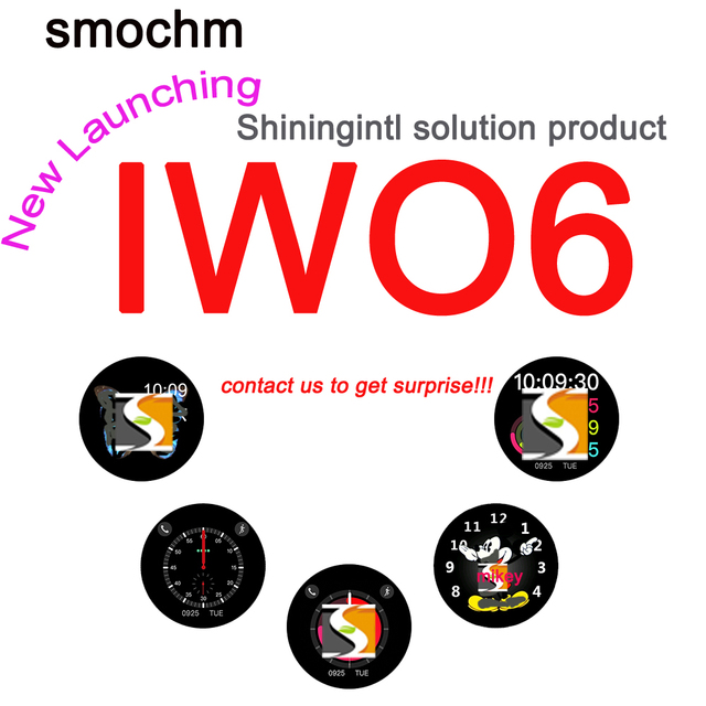 Smochm IWO 6 Wireless Charger Stainless Steel Shining Case MTK2502C Smart Watch Red Round Button Upgrade