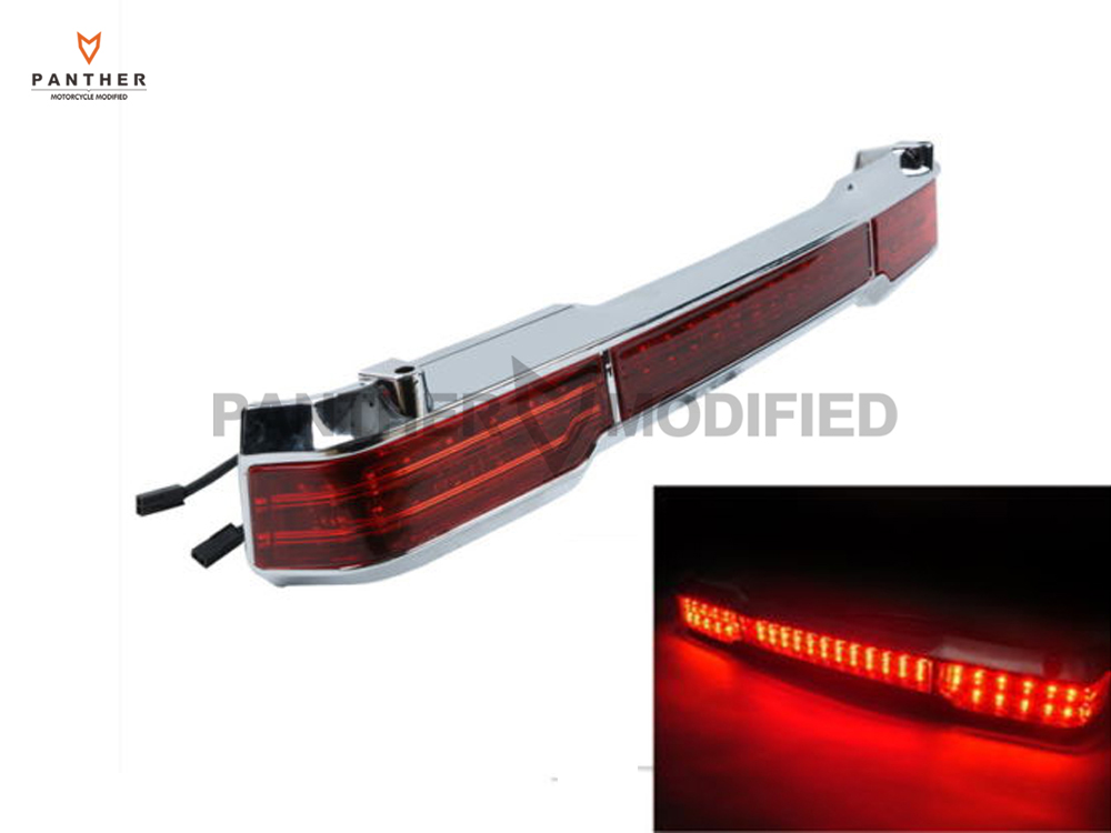 ФОТО 1 Pcs LED Motorcycle Tail Light Trunk King Moto Tour Pack Wrap Around Brake Lights case for Harley Touring 1997-2008