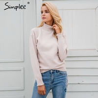 Simplee Elegant Knitting Turtleneck Pullover Sweater Warm Autumn Winter Elastic Sweater Women 2017 Casual Streetwear Jumper