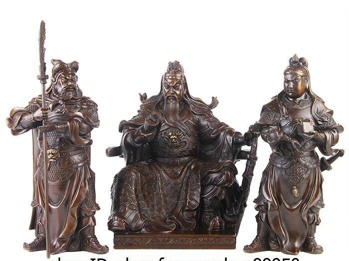 free shipping China Folk Bronze Copper Warrior God Guan Guan Gong Yu Ping Zhou Cang Statue Set