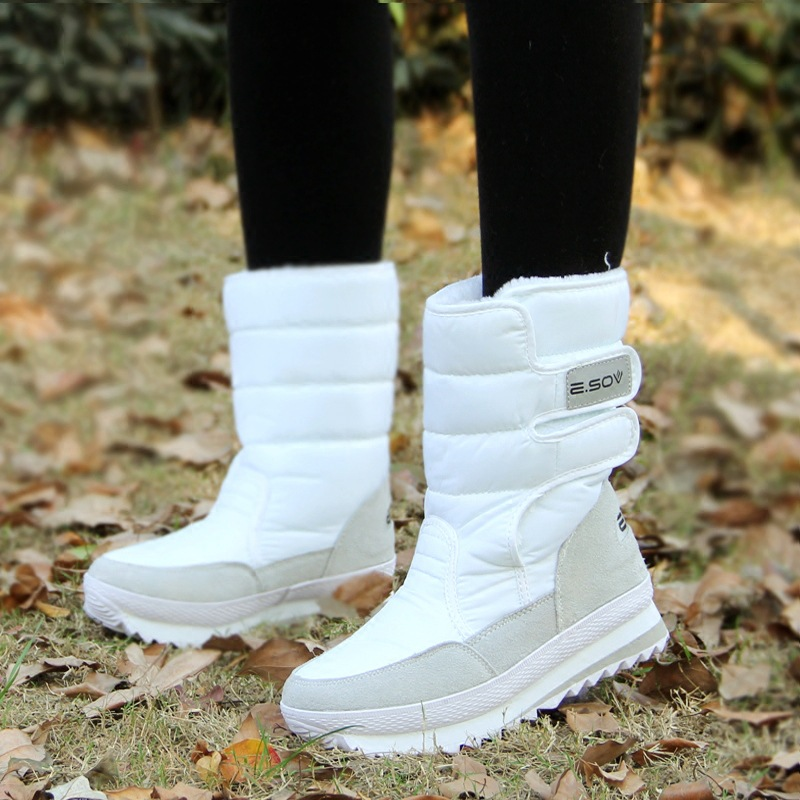 冬のブーツの女性の雪のアンクルブーツ女性ホワイトレディースシューズパンプスぬいぐるみインソール防水の靴暖かいボタ Feminina    グループ上の 靴 からの アンクルブーツ の中