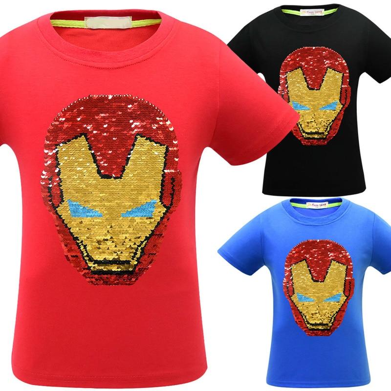 T-Shirt Flash Spiderman Short-Sleeve Avengers Sequins Girls Boys 4-Iron Kids for Discoloration-Deformed