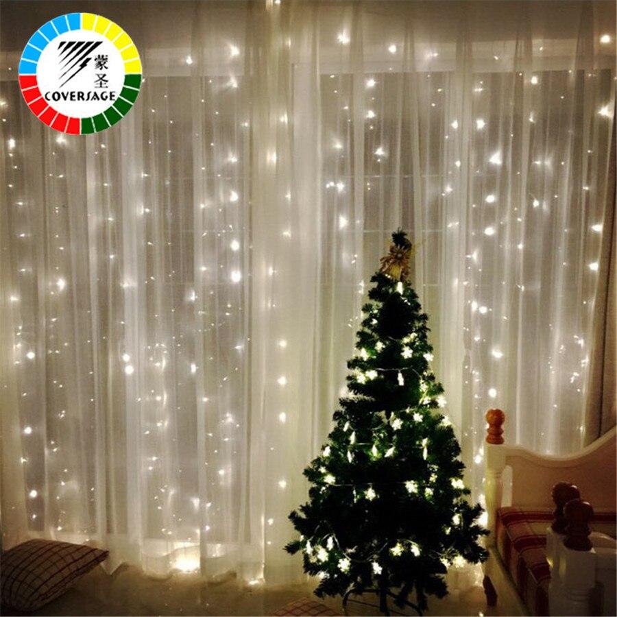 Coversage 3X3 m de Navidad guirnaldas LED de cadena Navidad neto luces de hadas fiesta de Navidad de la boda decoración cortina luces