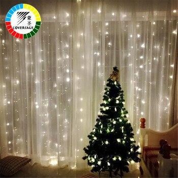 Coversage 3x3 m 크리스마스 garlands led 문자열 크리스마스 그물 조명 요정 크리스마스 파티 정원 웨딩 장식 커튼 조명