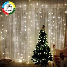 Coversage 크리스마스 Led 조명 커튼 갈 랜드 3X3M LED 문자열 요정 장식 야외 실내 홈 웨딩 장식 그물 빛