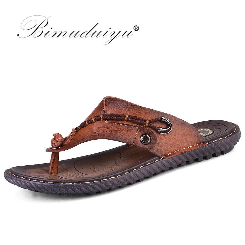 BIMUDUIYU Flip Flops de brand de lux Soft confortabile din piele din piele Papuci de plajă Slipper Flip Flop Summer Shoe pentru bărbați