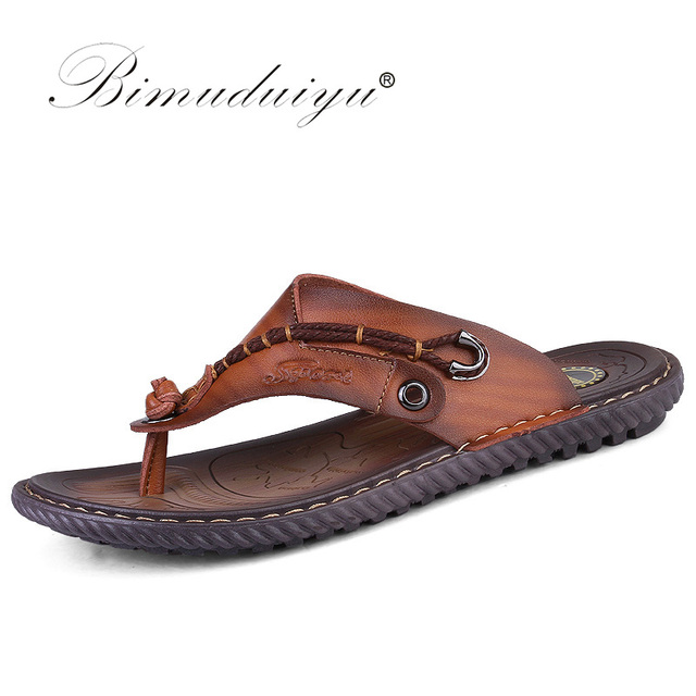 c6a648f3b BIMUDUIYU Luxury Brand Flip Flops Soft comfortable Microfiber Leather  Slippers Beach Slipper Flip Flop Summer Shoe For Men
